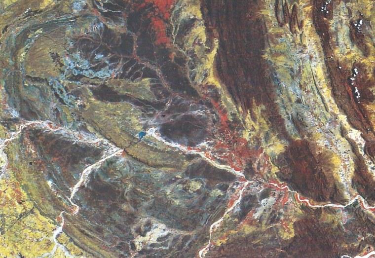 Landsat image mosaic showing part of the Cuddapah Basin.