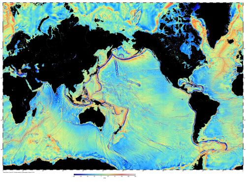 Global gravity over the oceans derived from Jason-1 and Cryosat-2 radar altimetry (credit: Scripps Institution of Oceanography)