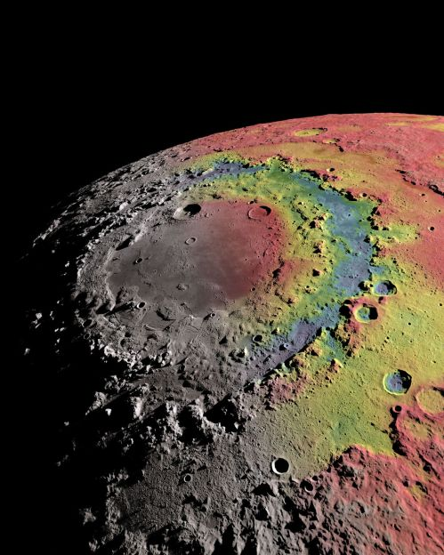 The Orientale basin superimposed by the strength of the moon's gravity field. Areas shaded in red have higher gravity, while areas in blue have the least gravity. (Credit: Ernest Wright, NASA/GSFC Scientific Visualization Studio)