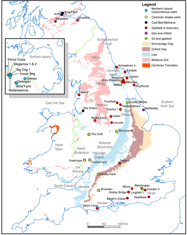Areas where petroleum-rich shales occur at the surface in Britain. (credit: British Geological Survey)