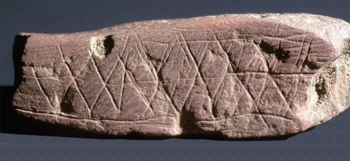 Engraved ochre from Blombos Cave, South Africa. (credit Chris Henshilwood)