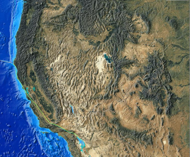 "The ""marching caterpillars"" of the Basin and Range province, showing the San Andreas Fault in  (credit: University of Maryland, USA)"